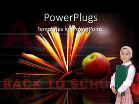 Amazing slides consisting of young girl with backpack, red apple and open book on black background