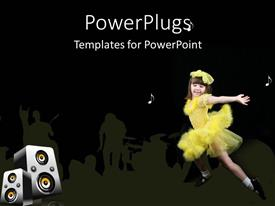 Slide set featuring young girl dancing in yellow outfit against black background with white musical notes and set of large speakers