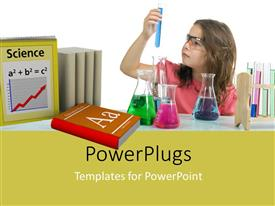 Colorful presentation theme having a young girl holding a test tube with blue liquid in it