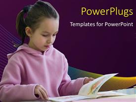 Slide set consisting of young girl reading from a book on purple background