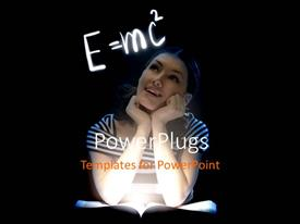 Theme enhanced with young lady reading with Einstein relativity formula on black background