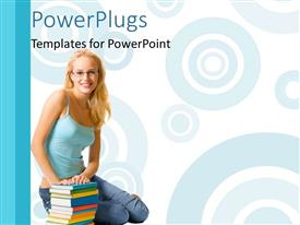 Beautiful presentation with young lady sits beside book pile on white background with circles