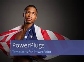 Presentation design consisting of a young man draped with the american flag looking upward