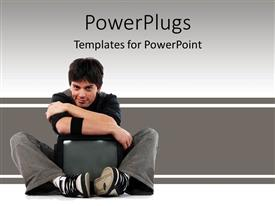 PPT layouts with young man hugging television, mass media, advertising