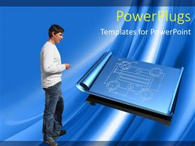 5000 blueprint powerpoint templates w blueprint themed backgrounds ppt layouts featuring young man inspecting half rolled blueprint on blue background malvernweather Choice Image