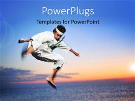 Elegant PPT theme enhanced with a young martial arts fighter practicing in mid air