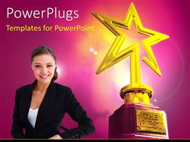 Presentation theme enhanced with young smiling girl and Gold star award with The Best keyword over glowing background
