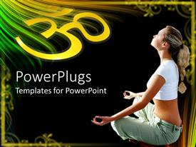 Elegant PPT layouts enhanced with young woman in lotus position meditating with abstract framing and black background