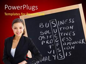 Colorful presentation having young woman with success ingredients written in crossword on chalkboard