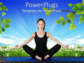Slide deck featuring young women wearing black exercising clothes performing yoga meditation exercising on blue mat with flower field and branches with green leaves and bright blue sky background