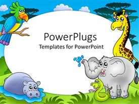 Elegant PPT theme enhanced with zoo theme with exotic animals with hippo, giraffe, elephant, snake and parrot on safari background with white round frame in the middle