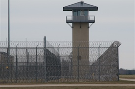 A guard tower and prison yard remain empty at the Thomson Correctional Center in Illinois. The site is being considered by the Department of Defense to house suspects from the Guantanamo Bay prison. (David Greedy/Getty Images)