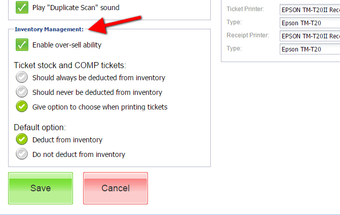 How can I control the inventory of tickets sold through the