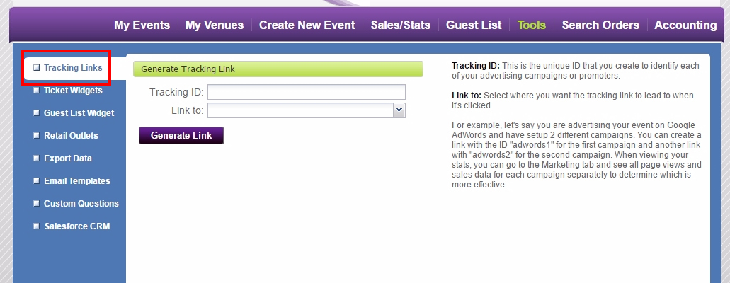 How do I create tracking links? – Purplepass Support