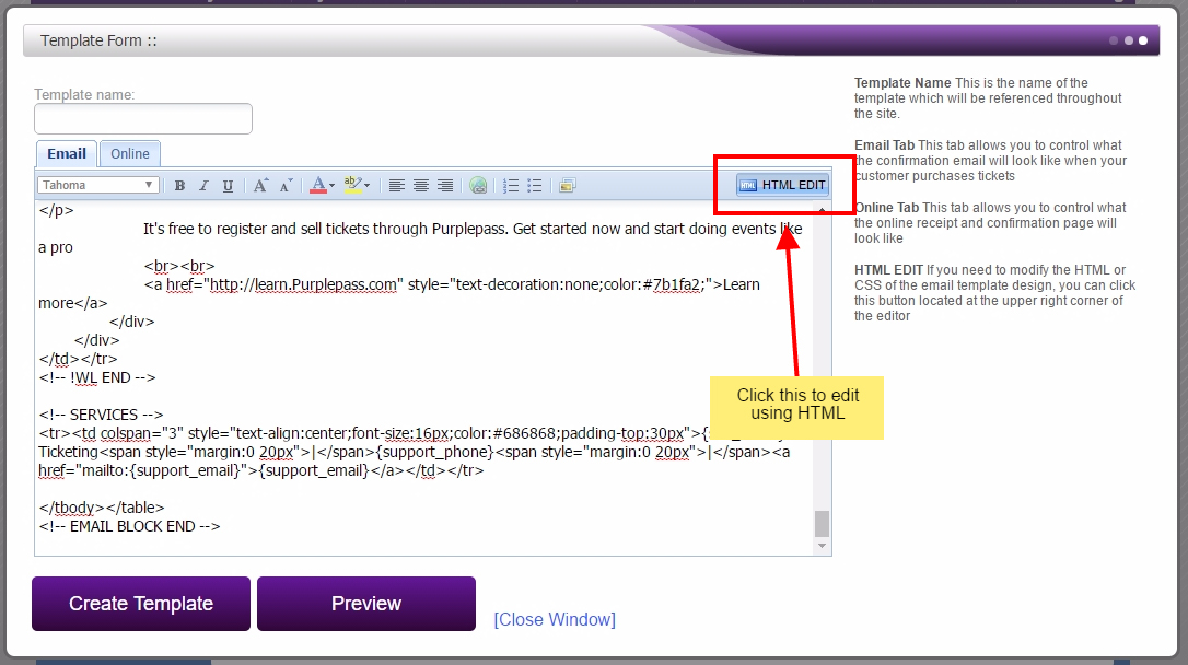 How Do I Edit The Html Code For My Email Template Purplepass Support