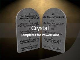PPT Theme Enhanced With 10 God Commandments Stones Tablets Background And A Colored Foreground