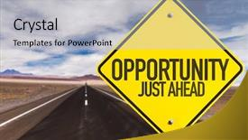 Presentation design with 2016 planning - opportunity just ahead sign background and a light gray colored foreground