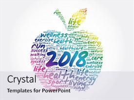 Presentation theme enhanced with 2018 apple word cloud collage health concept background background and a lemonade colored foreground.