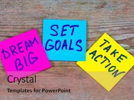 Colorful PPT layouts enhanced with 2018 goals - handwriting in black backdrop and a coral colored foreground.