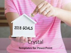 Presentation theme having 2018 goals with women hand putting money coin in piggy bank saving money concept concept of financial savings to buy a house growth business money background and a lemonade colored foreground.