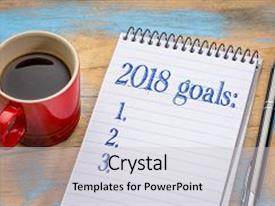 Audience pleasing theme consisting of 2018 goalslist in notebook backdrop and a light gray colored foreground.