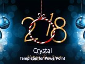Amazing PPT theme having 2018 happy new year background backdrop and a wine colored foreground.