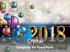 Colorful presentation theme enhanced with 2018 happy new year background backdrop and a gray colored foreground.