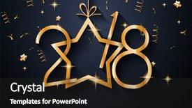 PPT layouts featuring 2018 happy new year background background and a dark gray colored foreground.