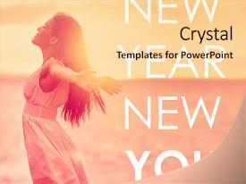 Presentation with 2018 - new year new you inspirational background and a blonde colored foreground.