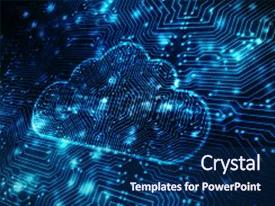 Cool new presentation theme with 2d rendering cloud computing cloud computing concept backdrop and a navy blue colored foreground.