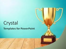 PPT theme consisting of trophy - 3d illustration of sports award background and a arctic colored foreground.