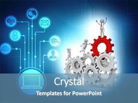 4000 3d Man Gears Powerpoint Templates W 3d Man Gears Themed