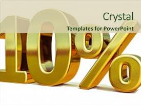 Presentation design featuring sticker - 3d render gold 10 percent background and a soft green colored foreground.