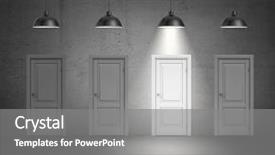Colorful PPT theme enhanced with 3d rendering of a four industrial lamps hang above identical doors and only one lamp lit up indecision choose best direction find better way backdrop and a gray colored foreground.