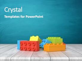 Presentation theme enhanced with 3d rendering of a toy building blocks lying in a colorful pile over a wooden desk on a blue background play time construction blocks toys and games background and a  colored foreground.