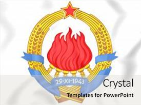 PPT theme consisting of 3d yugoslavia coat of arms close up background and a lemonade colored foreground