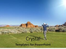 Presentation design with a beautiful scenic desert background and a gold colored foreground