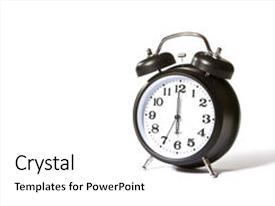 PPT theme featuring a black alarm clock background and a white colored foreground.