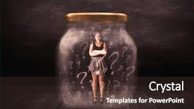 Presentation theme enhanced with a jar with question background and a tawny brown colored foreground