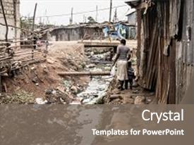 Audience pleasing PPT layouts consisting of a slum in africa backdrop and a gray colored foreground.