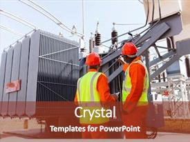 Presentation theme consisting of a transformer in electrical background and a tawny brown colored foreground