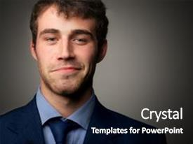 PPT theme enhanced with a young business man background and a dark gray colored foreground.