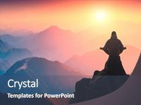 Beautiful presentation theme featuring above the misty valley zen backdrop and a dark gray colored foreground.