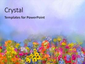 Cool new presentation design with paint - abstract art oil painting backdrop and a light blue colored foreground.