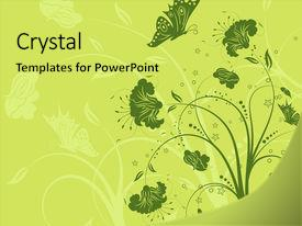 Slides consisting of green floral - abstract flower background with butterfly background and a yellow colored foreground.