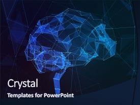 PPT theme enhanced with science - abstract image of human brain background and a navy blue colored foreground
