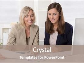 Colorful theme enhanced with boss employee - team of successful businesswoman backdrop and a coral colored foreground