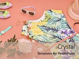 Audience pleasing slide deck consisting of floral - accessories summer street style design backdrop and a coral colored foreground.