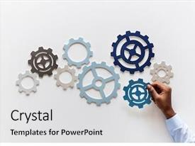 PPT layouts consisting of achievement - hand with support gears isolated background and a light gray colored foreground