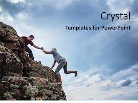 PPT theme having achievement - man giving helping hand background and a light blue colored foreground